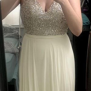 White sequin top formal dress